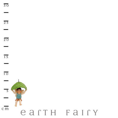 Leaf Parachute Boy Fairy, with Scale Ruler, from The Miniature Fairy Garden Figurine Collection from Earth Fairy