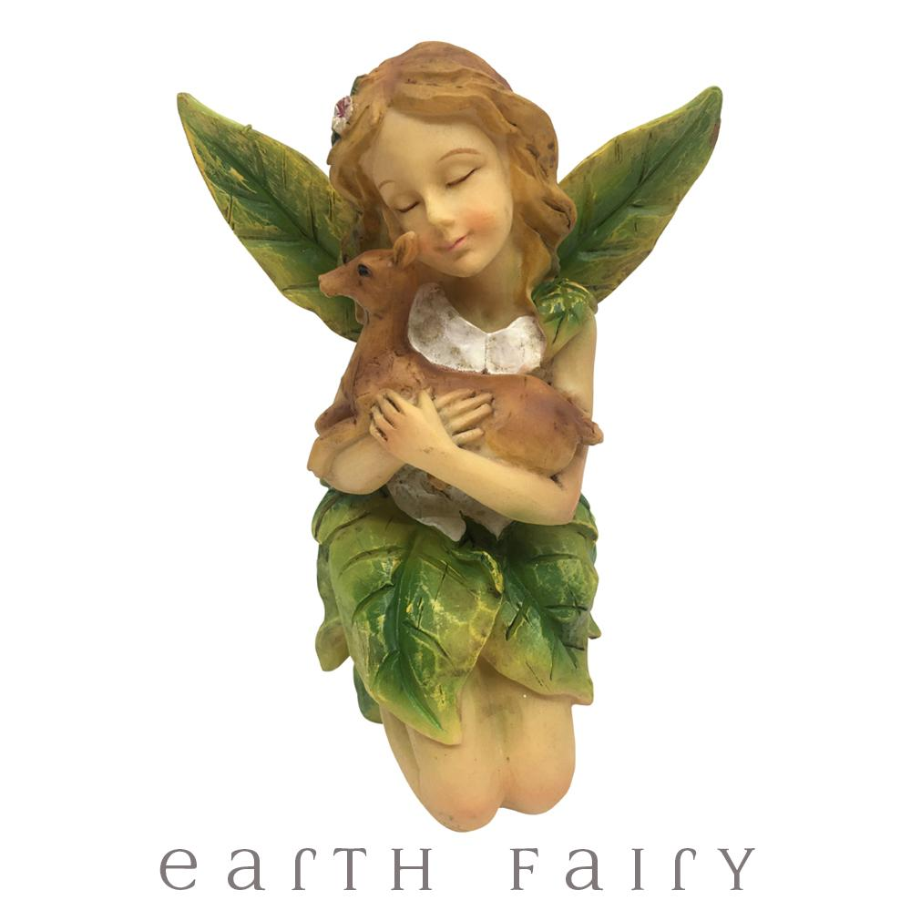 Leaf Winged Fairy Cuddling A Deer | Fairy Figurines & Ornaments - Australia | Earth Fairy