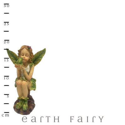 Leaf Winged Fairy Holding A Frog With Scale Ruler | Fairy Figurines & Ornaments - Australia | Earth Fairy
