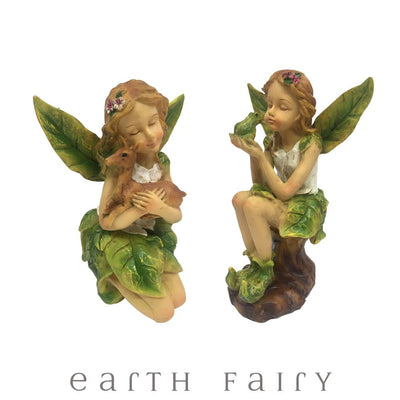 Leaf Winged Fairies - Set of 2 | Fairy Figurines & Ornaments - Australia | Earth Fairy