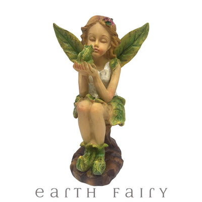 Leaf Winged Fairy Holding A Frog | Fairy Figurines & Ornaments - Australia | Earth Fairy