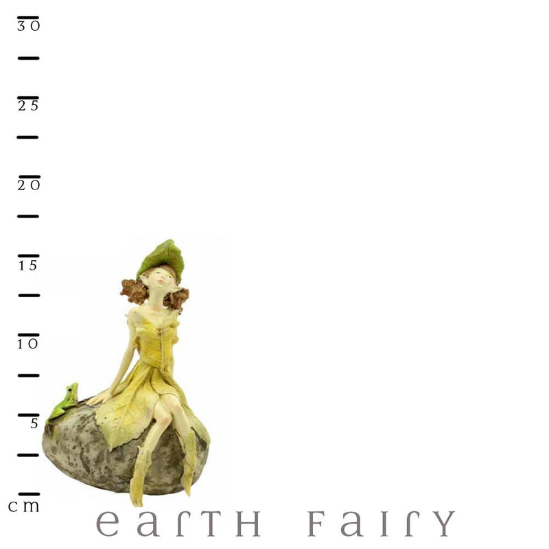 Leafy Fairy on a Rock with Frog | Fairy Figurines - Australia | Earth Fairy