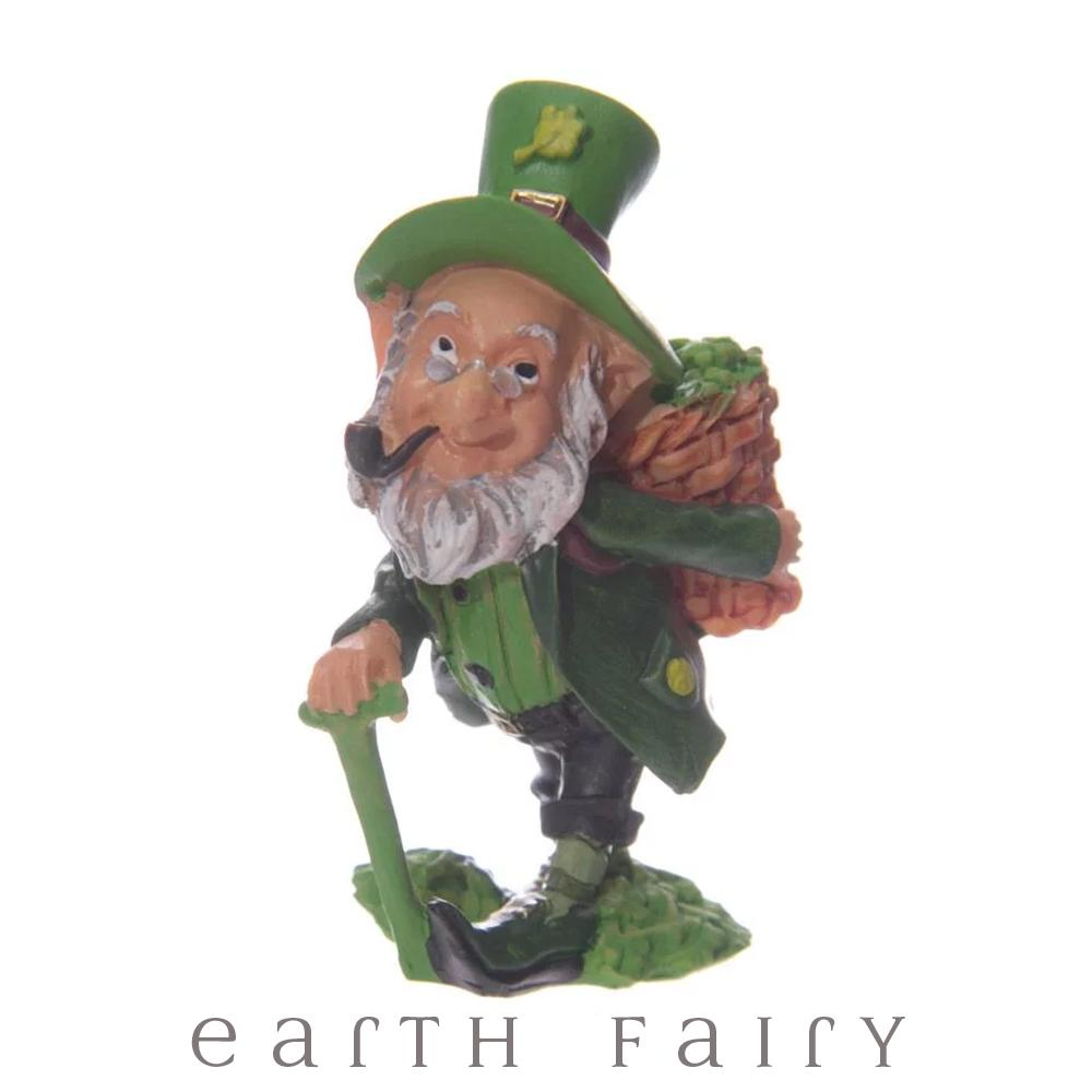 Leprechaun Carrying a Basket of Shamrocks, from The Miniature Leprechaun Figurine Collection by Earth Fairy