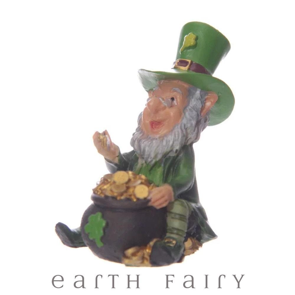 Leprechaun Counting Gold, from The Miniature Leprechaun Figurine Collection by Earth Fairy