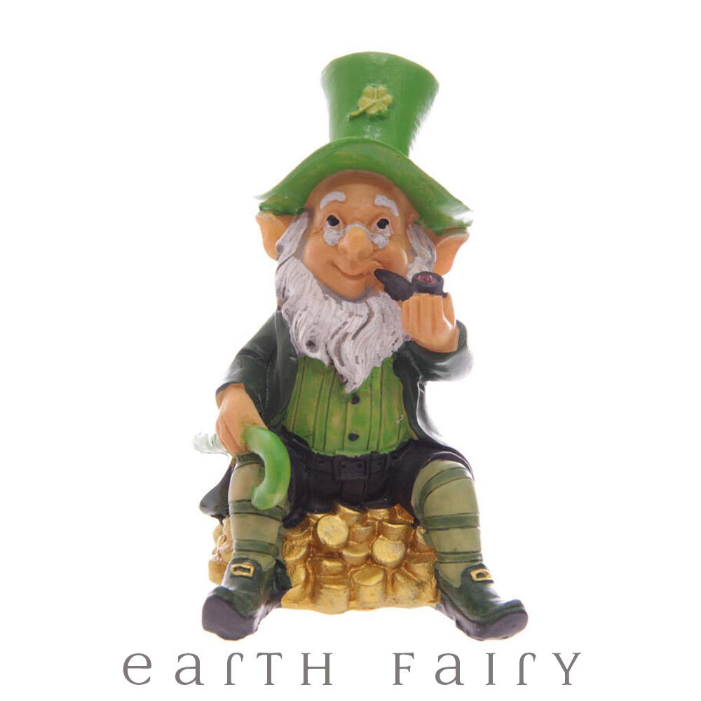 Leprechaun Sittin on Gold, from The Miniature Leprechaun Figurine Collection from Earth Fairy