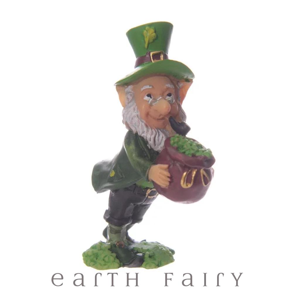 Leprechaun with Pot of Shamrocks, from The Miniature Leprechaun Figurine Collection from Earth Fairy