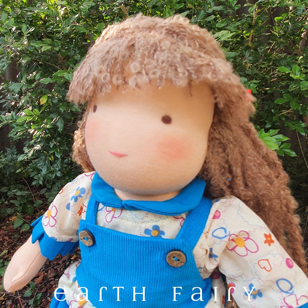 Waldorf Steiner Girl Doll with Light Brown Hair & Brown Eyes, from The Waldorf Doll Collection by Earth Fairy