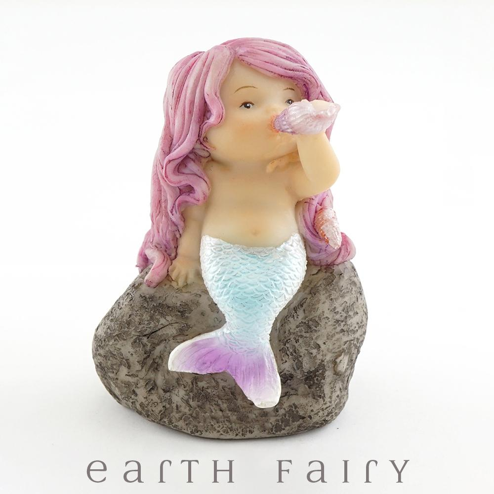 Little Mermaid Playing with Seashell, from The Miniature Mermaid Collection by Earth Fairy