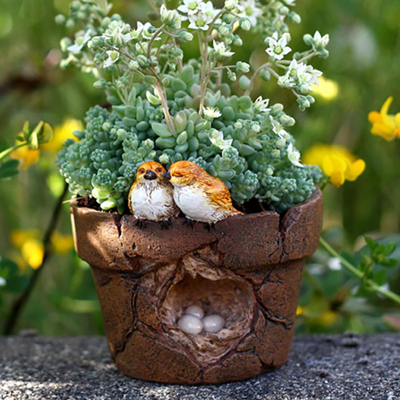 Lover Birds and Nest Flower Pot | Fairy Garden Landscaping | Earth Fairy