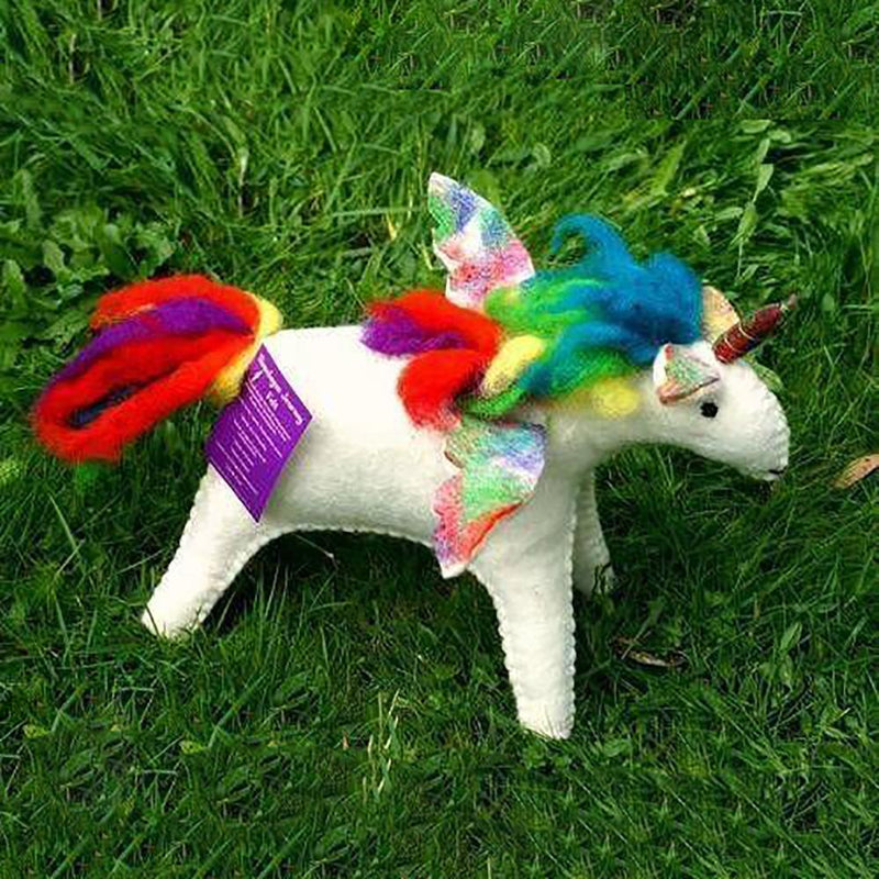 Magical Rainbow Unicorn - Large | Hand Felted Wool Toys - Australia| Earth Fairy