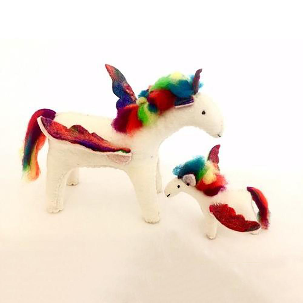 Magical Rainbow Unicorn - Showing Large and Small Variations | Hand Felted Wool Toys - Australia | Earth Fairy
