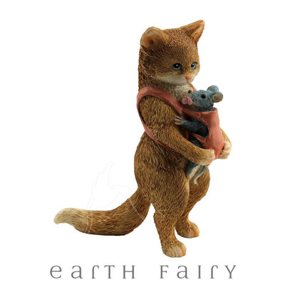 Mama Cat & Baby Mouse | Fairy Gardens & Collectible Miniatures | Earth Fairy