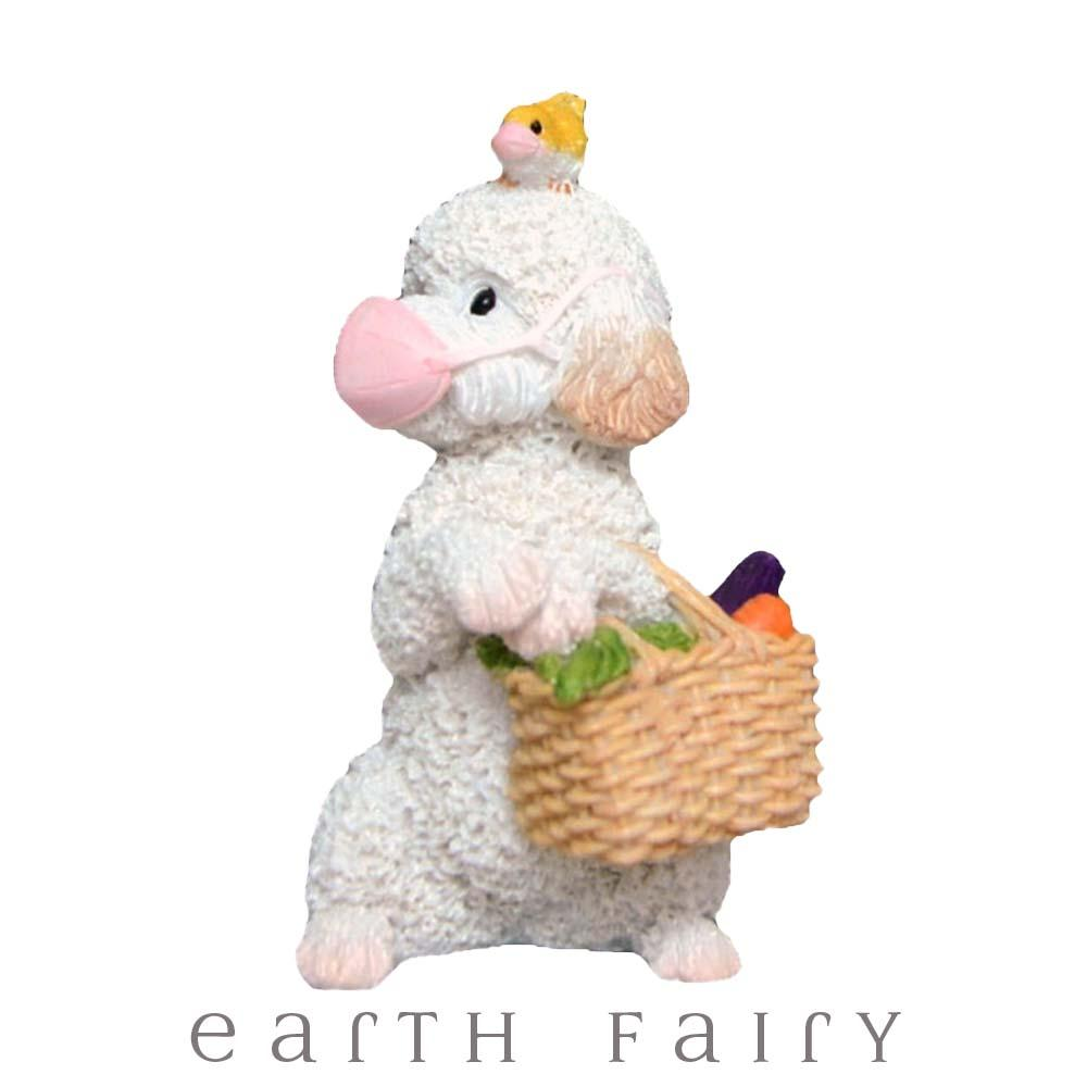 Masked Shopper Dog from The Fairy Garden Miniature Figurine Collection by Earth Fairy