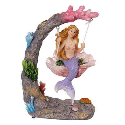 Mermaid on a Seashell Swing - Pink | Fairy Garden Figurines - Australia | Earth Fairy
