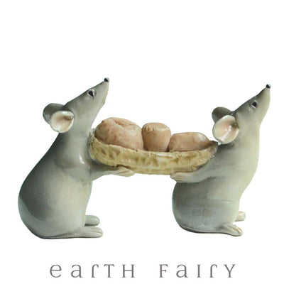 Mice Carrying Peanuts from The Fairy Garden Animal Collection by Earth Fairy