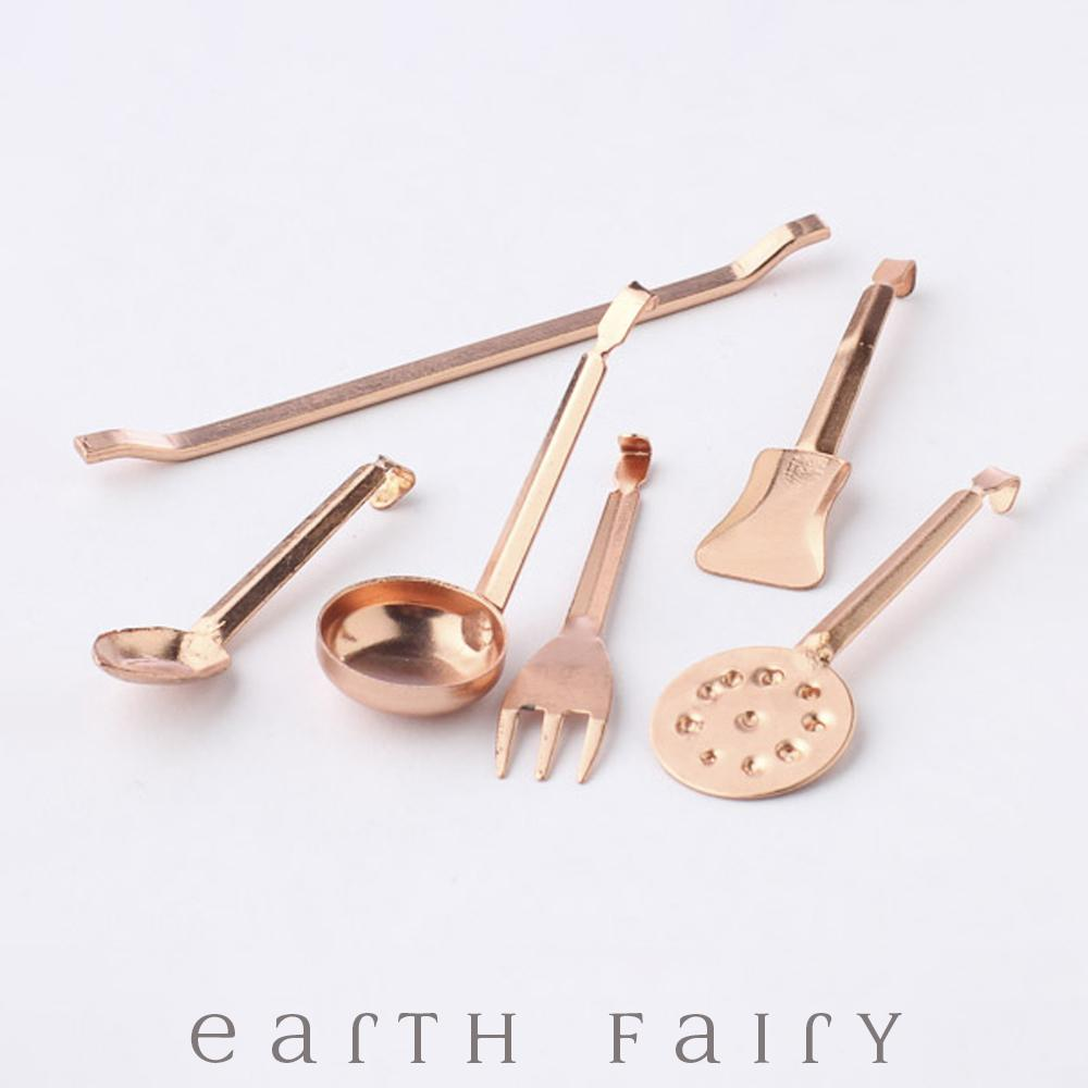 Miniature Copper Kitchen Utensils, from The Fairy Garden Collection by Earth Fairy