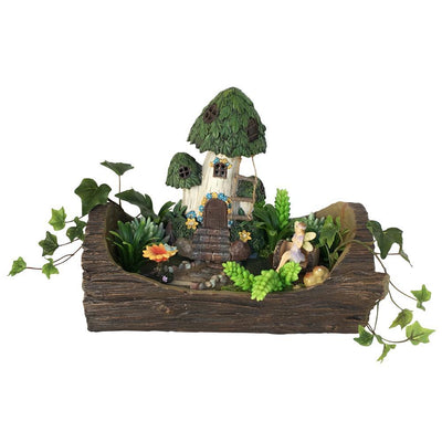 Fairy Garden Landscaping - Open Log Planter with Stone Walkway & Patio Areas - Earth Fairy - shown planted with house