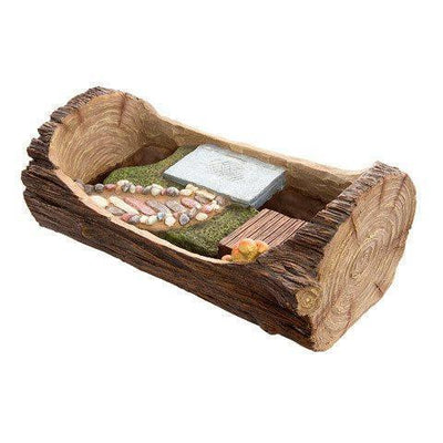 Fairy Garden Landscaping - Open Log Planter with Stone Walkway & Patio Areas - Earth Fairy
