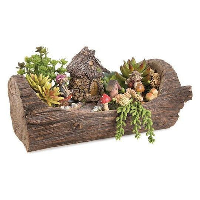 Fairy Garden Landscaping - Open Log Planter with Stone Walkway & Patio Areas - Earth Fairy - shown planted
