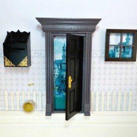 Fairy Doors Opening Fairy Door Starter Set Black & Grey Earth Fairy