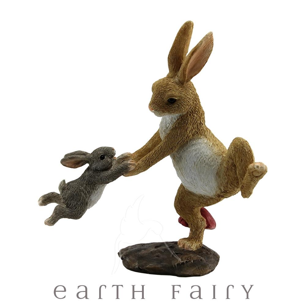 Papa & Baby Rabbit Playing | Fairy Gardens & Collectible Miniatures | Earth Fairy