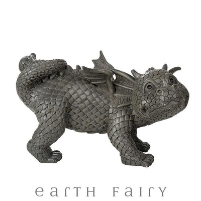 Peeing Dragon Garden Statue, Side View, from The Dragon Figurine Collection by Earth Fairy