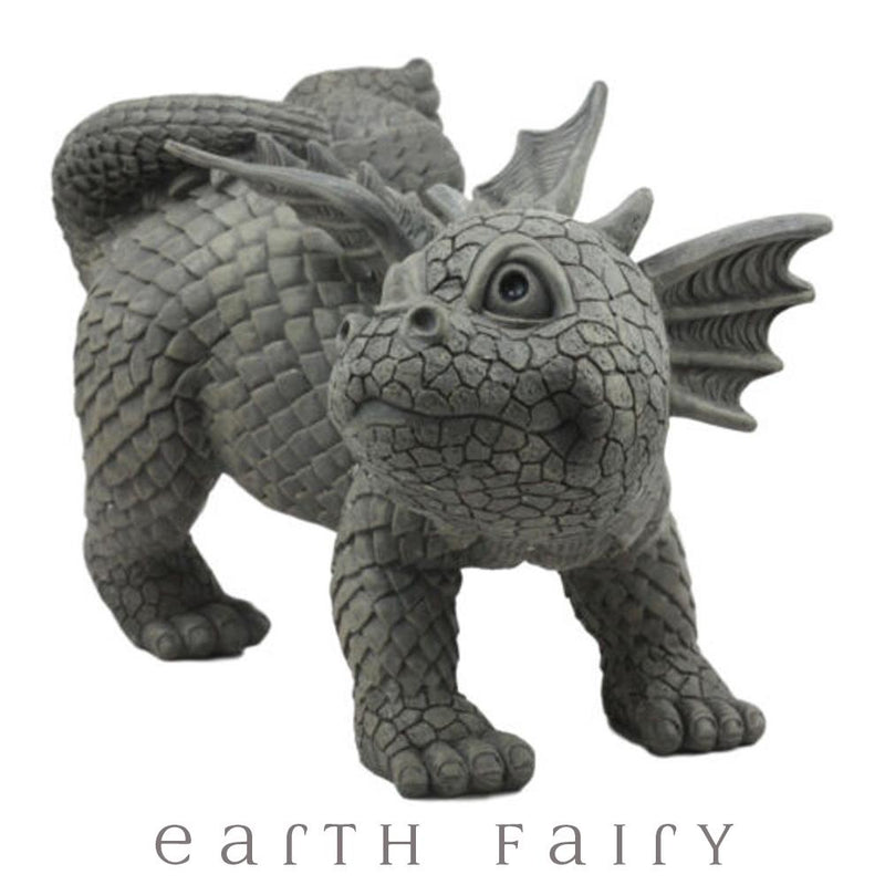 Peeing Dragon Garden Statue, Rear View, from The Dragon Figurine Collection by Earth Fairy