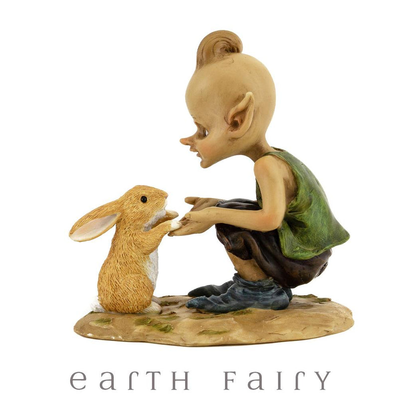 Pixiey Playing with Bunny from the Pixie Figurine Collection by Earth Fairy
