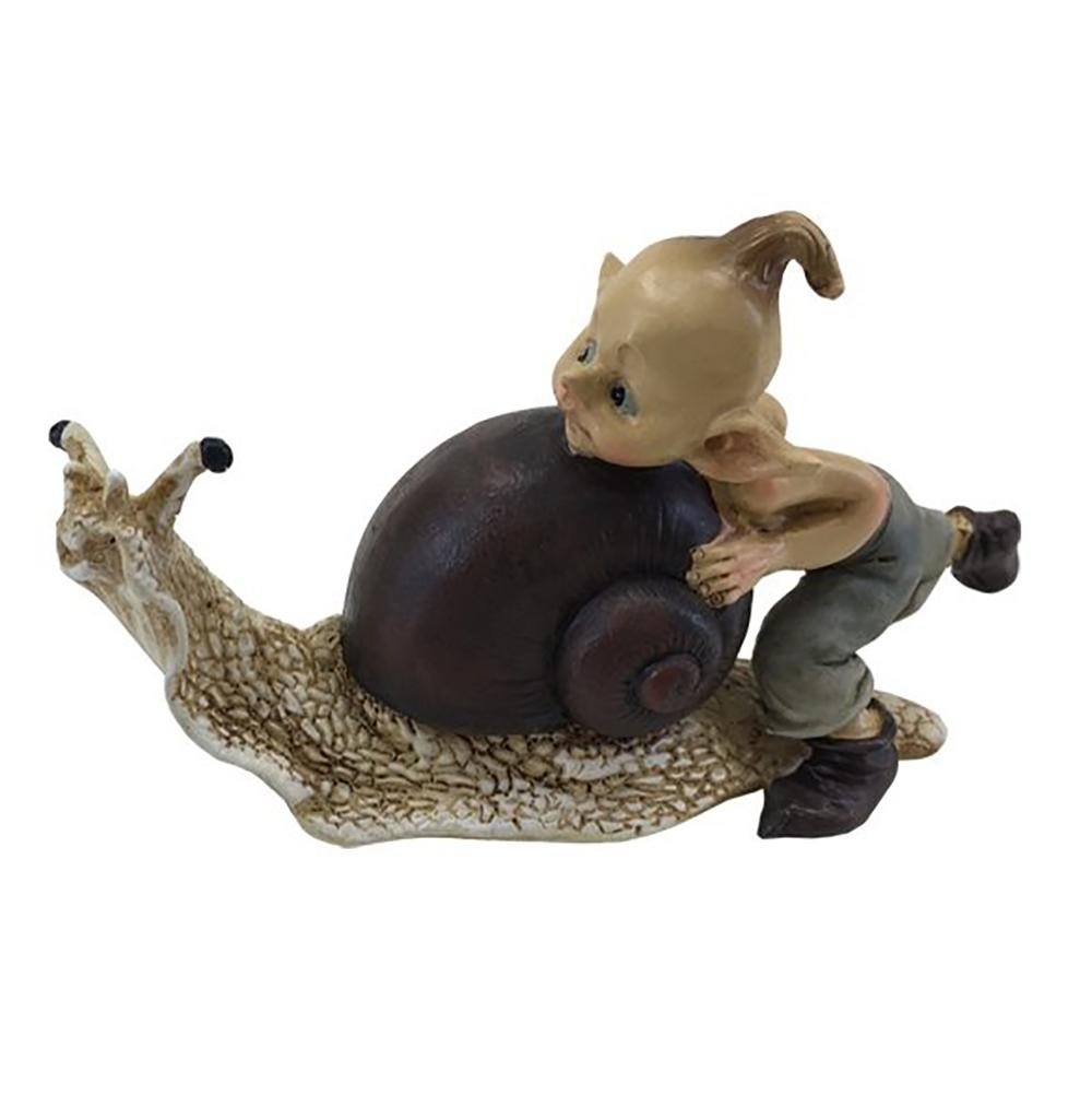 Pixie Pushing a Snail | Fairy Garden Figurines - Australia | Earth Fairy