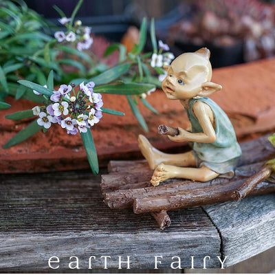 Pixie Rowing a Raft with a Frog in a Garden Setting | Fairy Garden Miniature | Earth Fairy