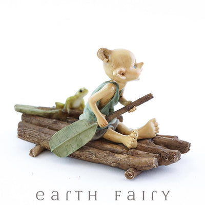 Pixie Rowing a Raft with a Frog - Side View | Fairy Garden Miniature | Earth Fairy