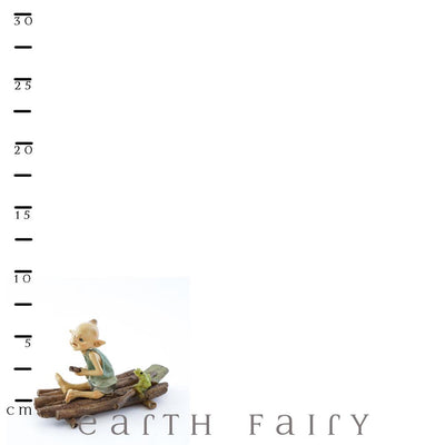Pixie Rowing a Raft with a Frog with Ruler | Fairy Garden Miniature | Earth Fairy