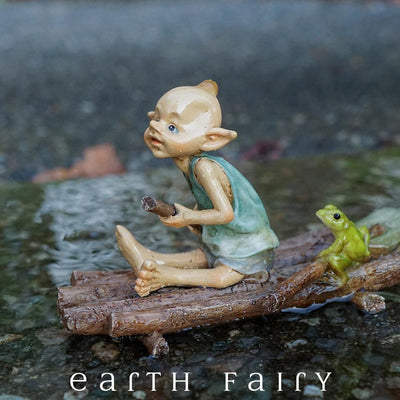 Pixie Rowing a Raft with a Frog on Water | Fairy Garden Miniature | Earth Fairy