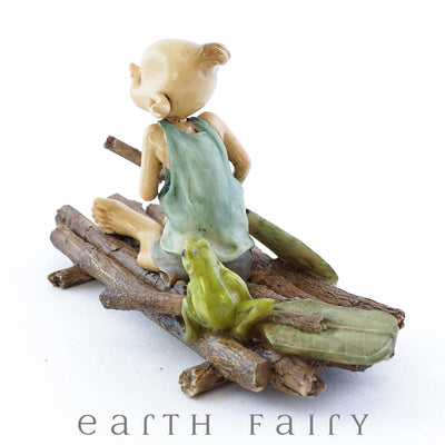 Pixie Rowing a Raft with a Frog - Rear View | Fairy Garden Miniature | Earth Fairy