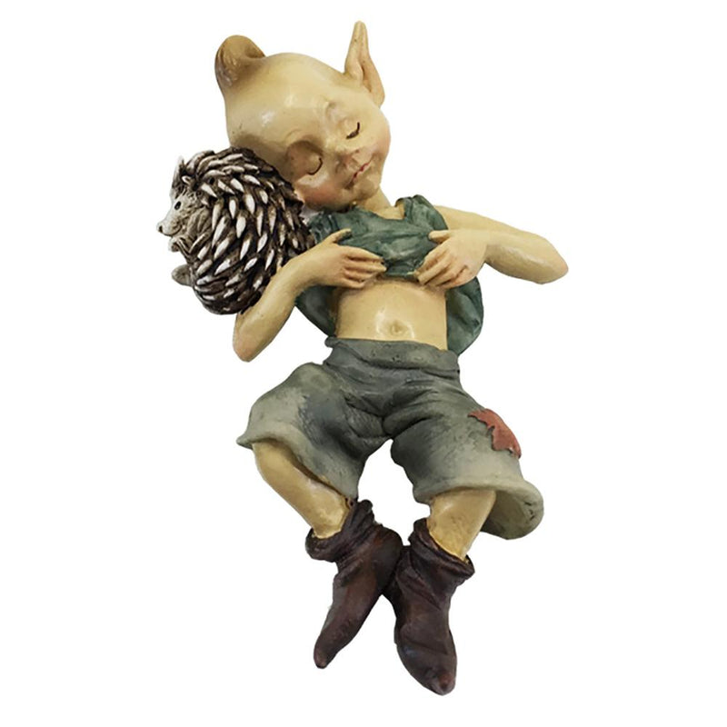 Pixie Sleeping with a Hedgehog | Fairy Garden Figurines - Australia | Earth Fairy
