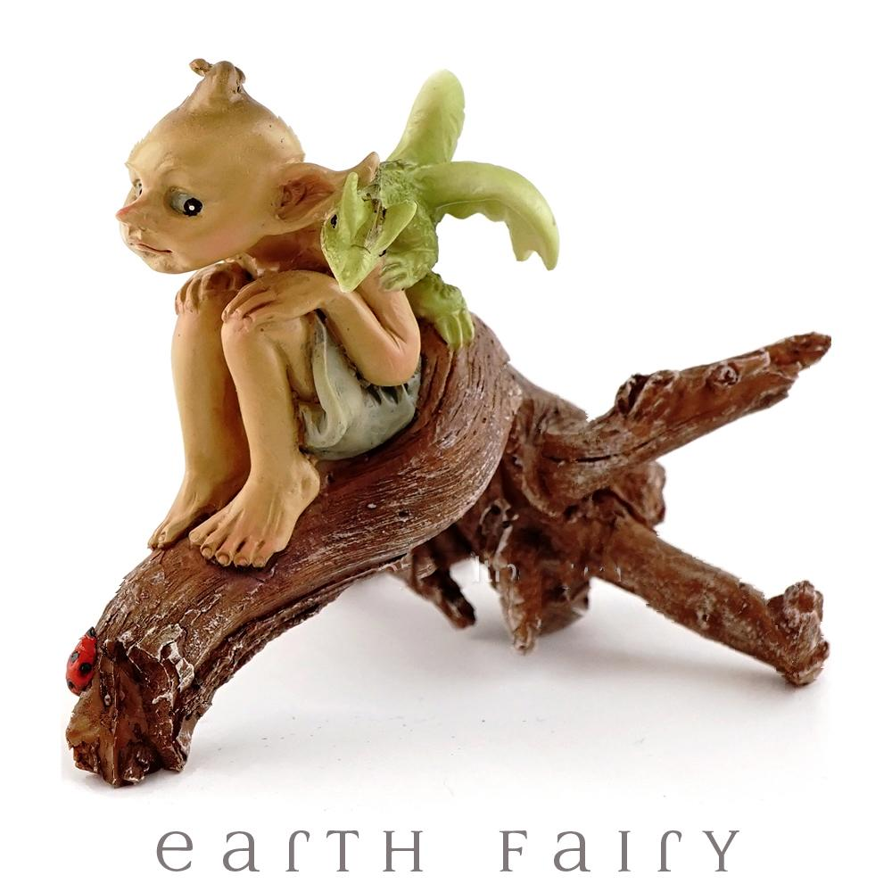 Pixie with Baby Dragon on a Tree Branch | Fairy Garden Miniature | Earth Fairy