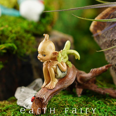 Pixie with a Baby Dragon on a Tree Branch in a Garden Setting | Fairy Garden Miniature | Earth Fairy