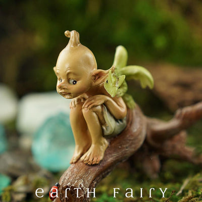 Pixie with Baby Dragon on a Tree Branch in a Garden Setting - Close Up | Fairy Garden Miniature | Earth Fairy