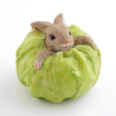 Rabbit Stuck in a Cabbage | Fairy Garden Figurines | Earth Fairy