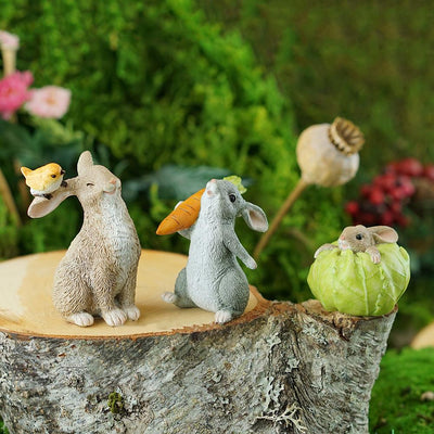 Rabbit Stuck in a Cabbage - Shown with Friends | Fairy Garden Figurines | Earth Fairy