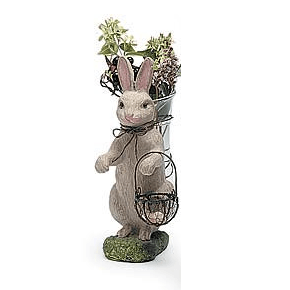 Room Accents Rabbit with Glass Vase Earth Fairy