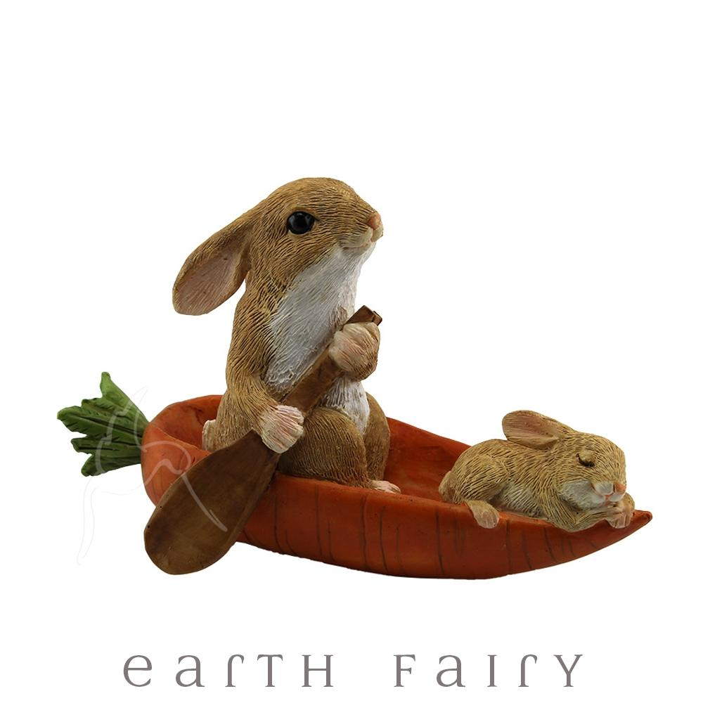 Rabbits in a Carrot Boat | Fairy Gardens & Collectible Miniatures | Earth Fairy