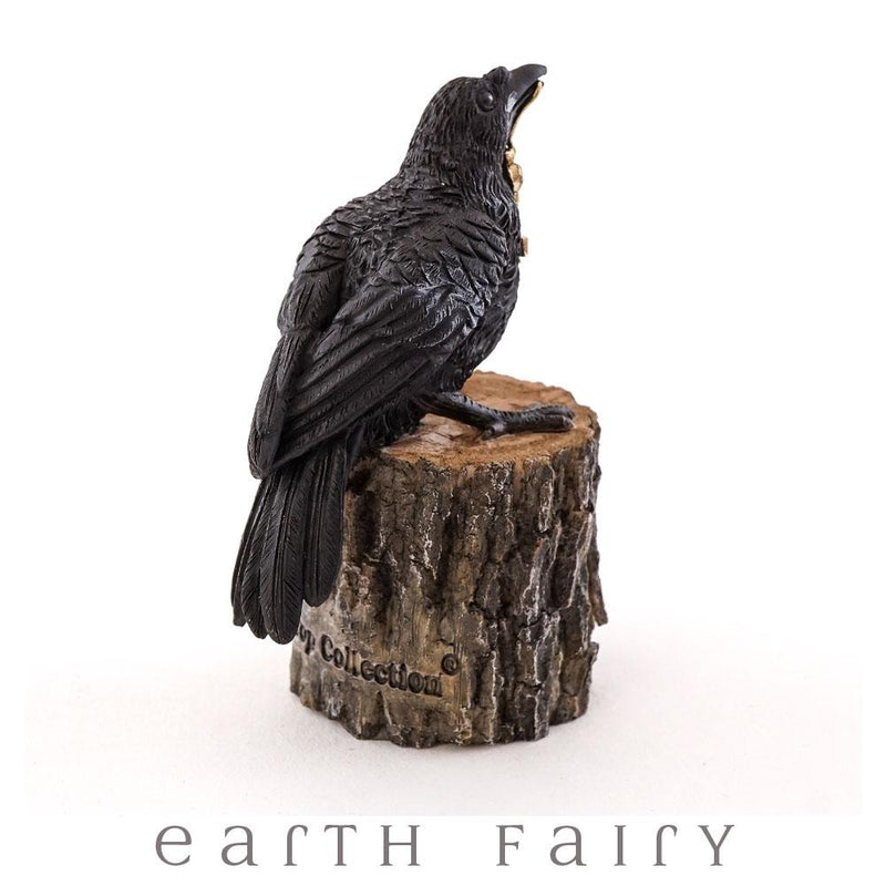 Raven with Key on Tree Stump | Fairy Gardens - Australia | Earth Fairy