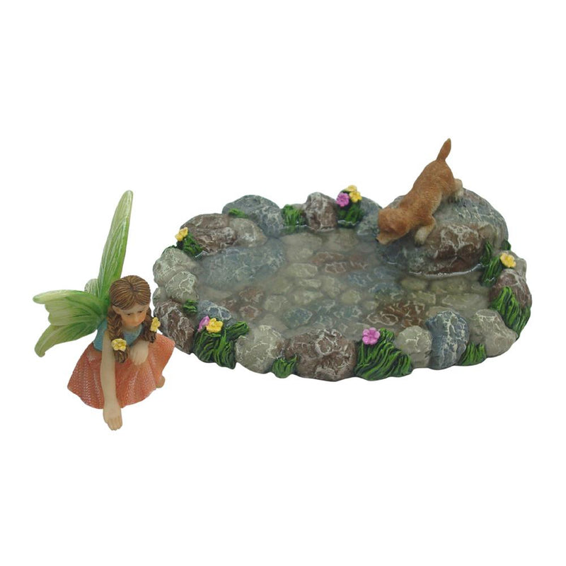 Realistic Water Pond with Puppy and Moveable Fairy Annabelle | Fairy Garden Landscaping - Australia | Earth Fairy