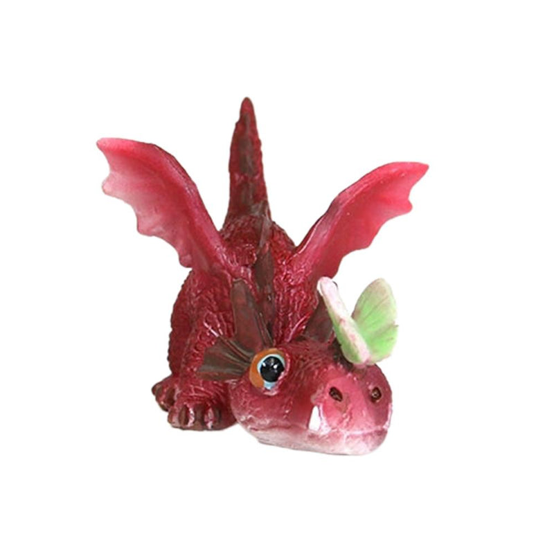 Red Dragon Playing with Butterfly | Fairy Garden Supplies - Animals | Earth Fairy