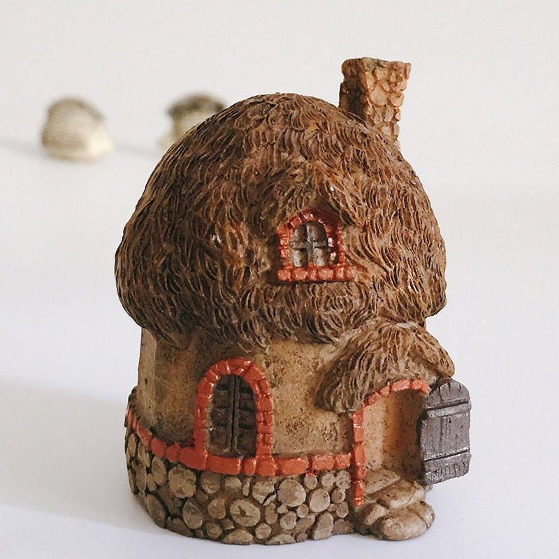 Fairy Houses Rustic Thatched Roof Cottage - Micro Earth Fairy
