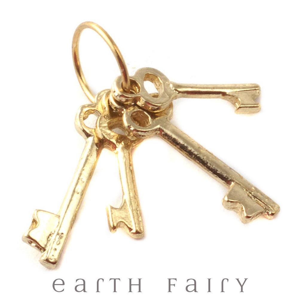 Set of Brass Keys | Fairy Garden Accessories & Miniatures | Earth Fairy