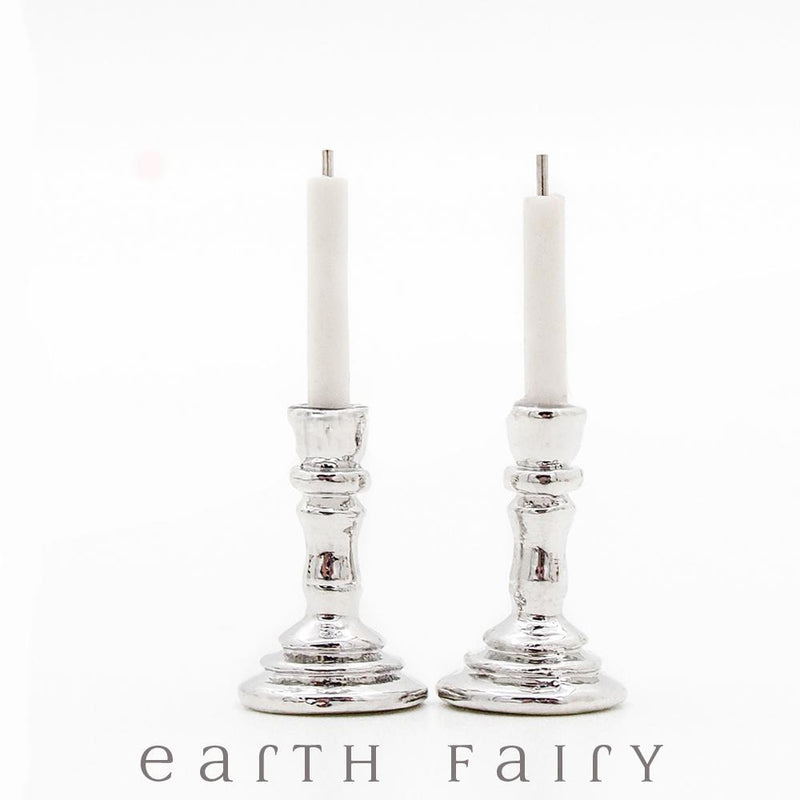 Miniature Silver Effect Candlesticks w/ Candles from The Fairy Garden Collection by Earth Fairy