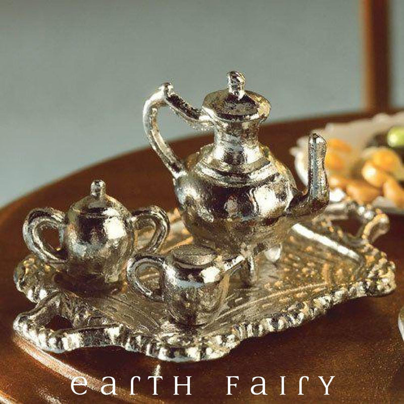 Miniature Silver Tea Service for Dollhouse or Fairy Garden by Earth Fairy