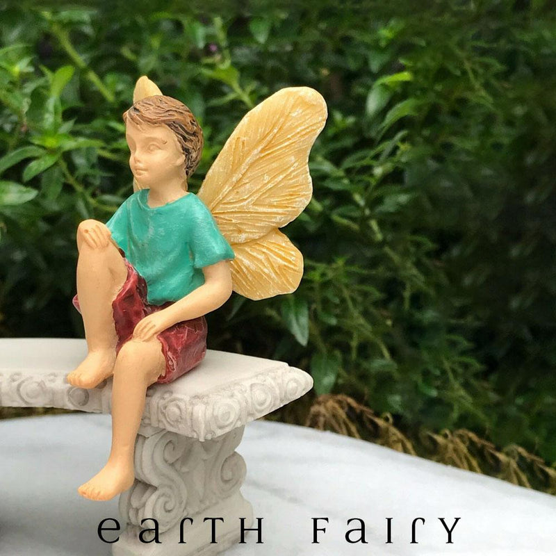 Sitting Boy Fairy from the Woodland Knoll Fairy Garden Collection by Earth Fairy
